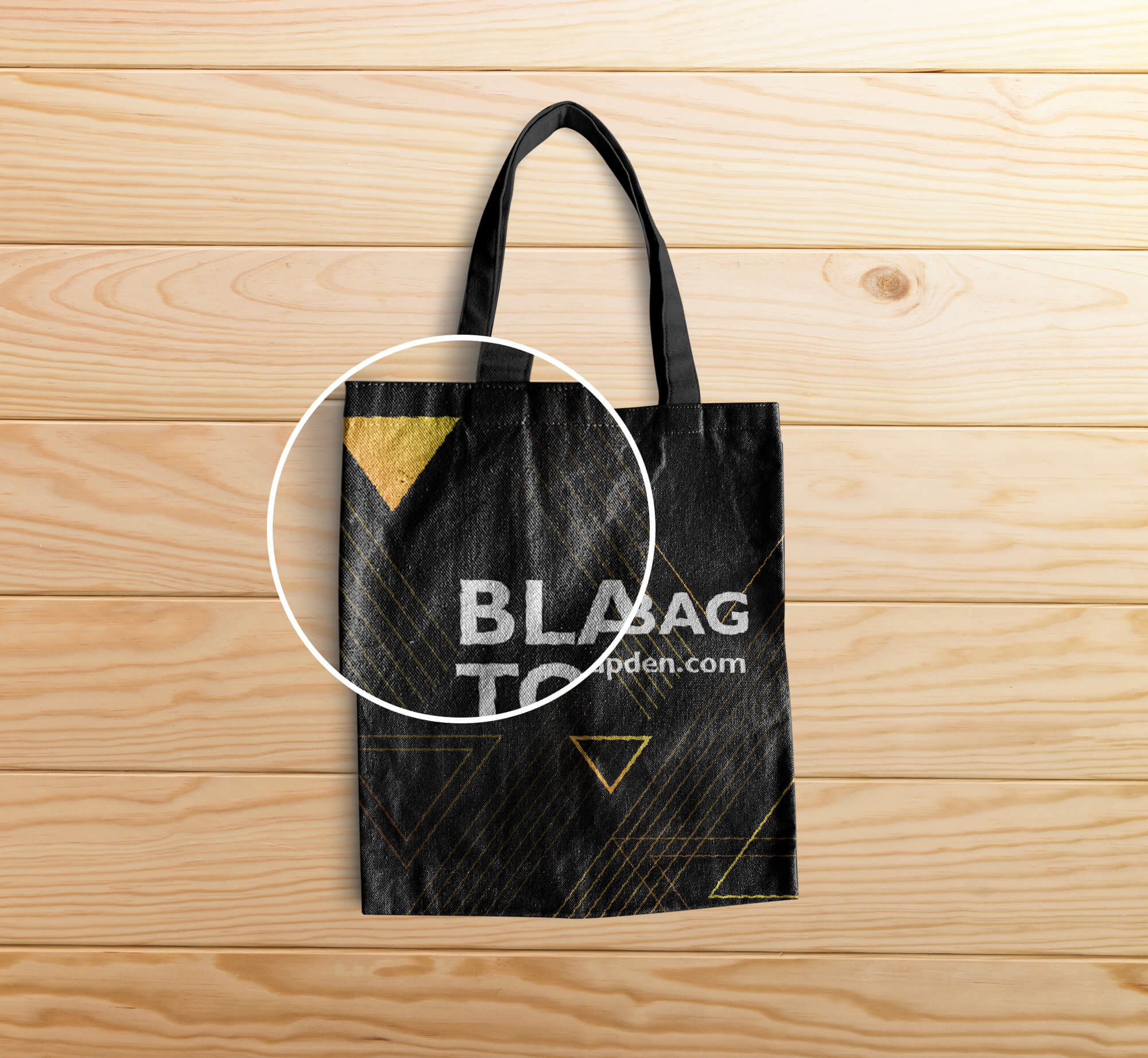 Close Up of a Free Black Tote Bag Mockup PSD Template