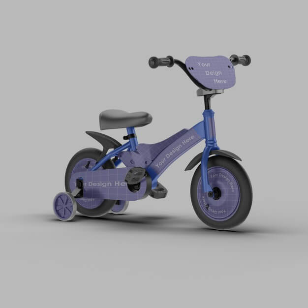 Close up on kid bicycle mockup isolated Premium Psd (1)