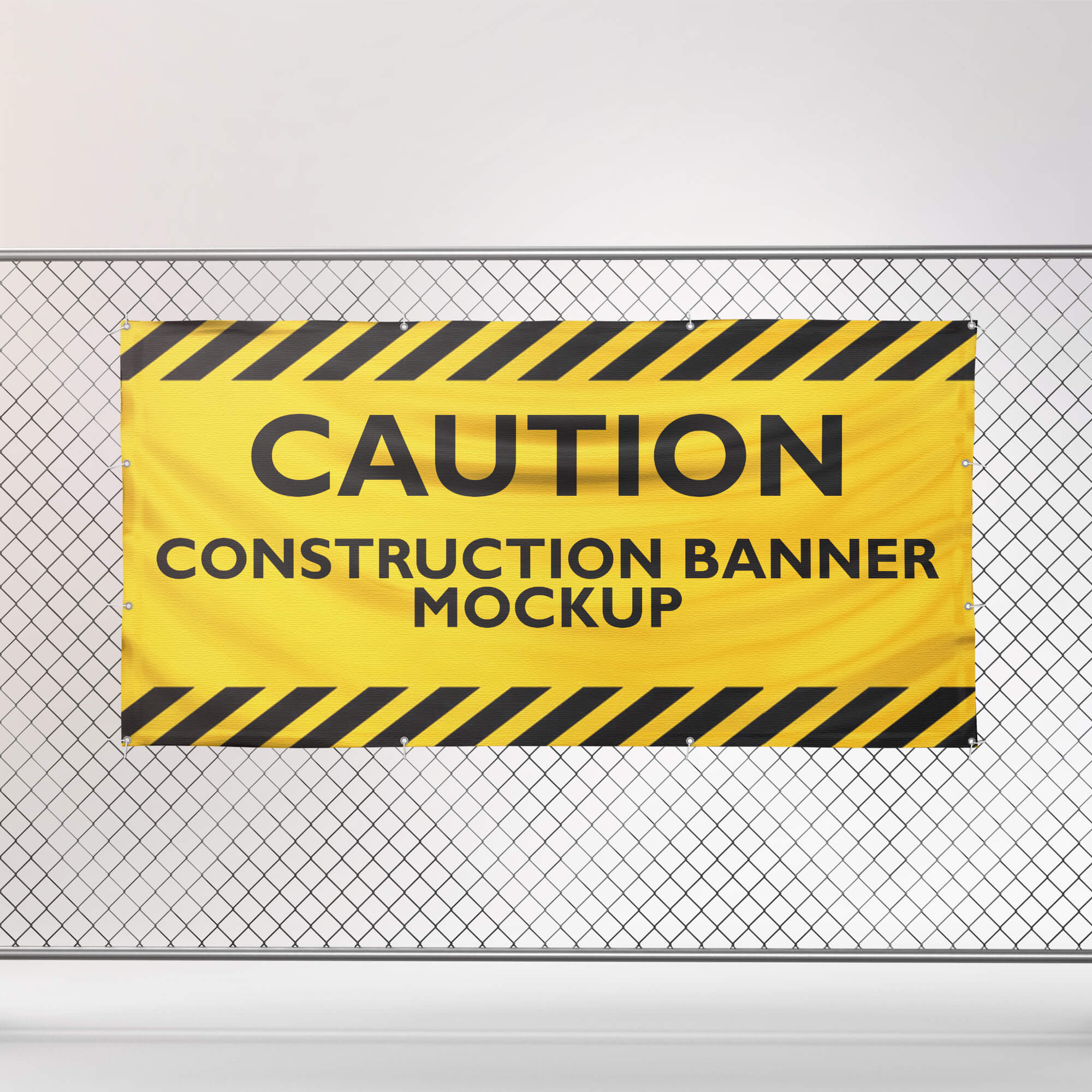 Design Free Construction Banner Mockup PSD Template