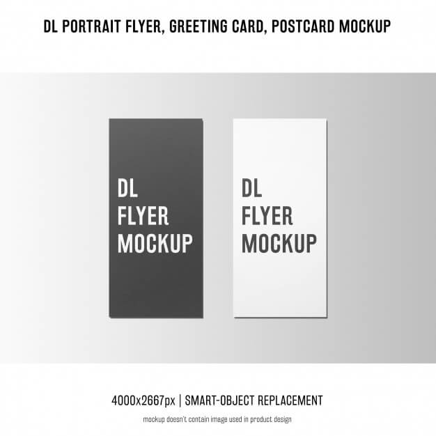 Dl portrait flyer, postcard, greeting card mockup Free Psd