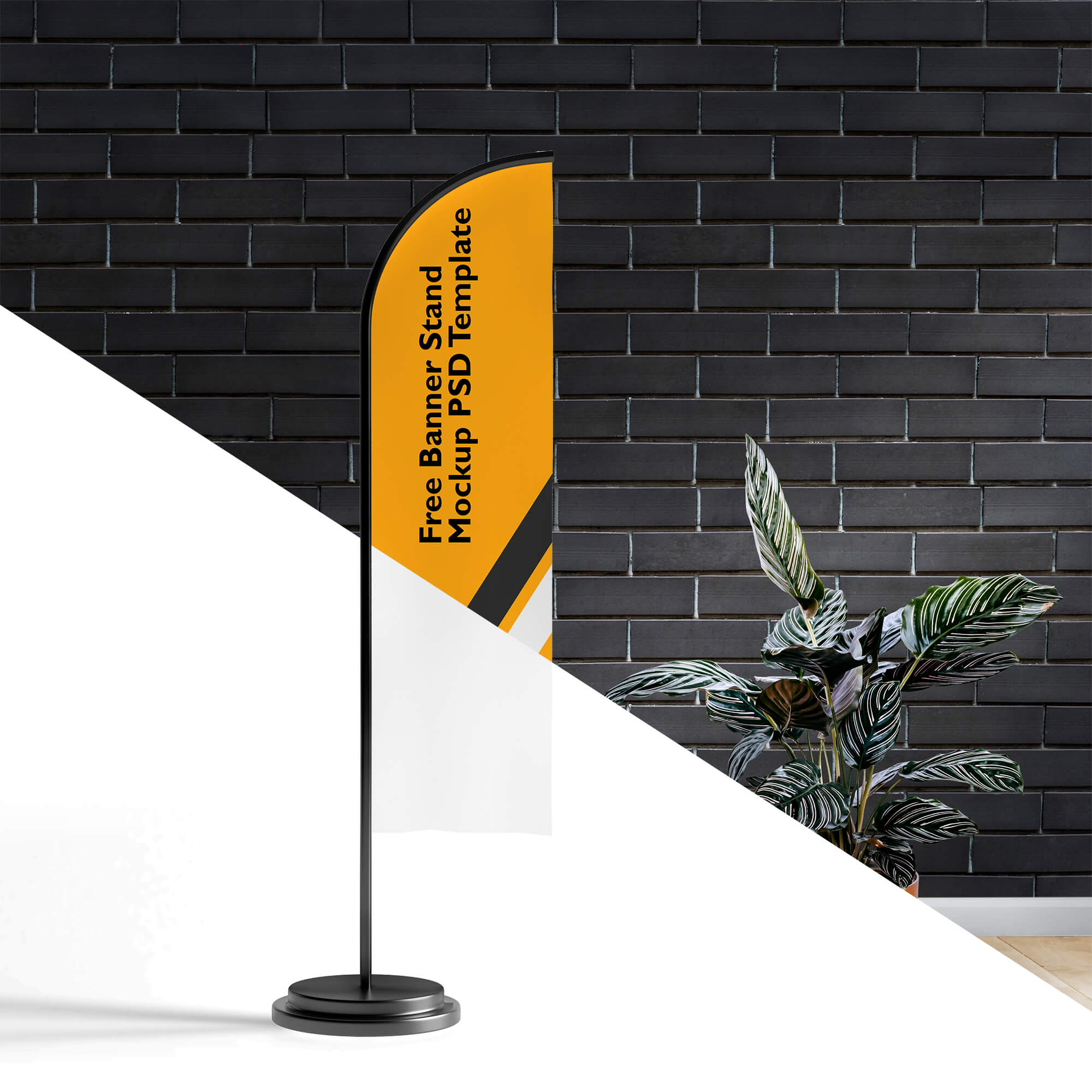 Editable Free Banner Stand Mockup PSD Template