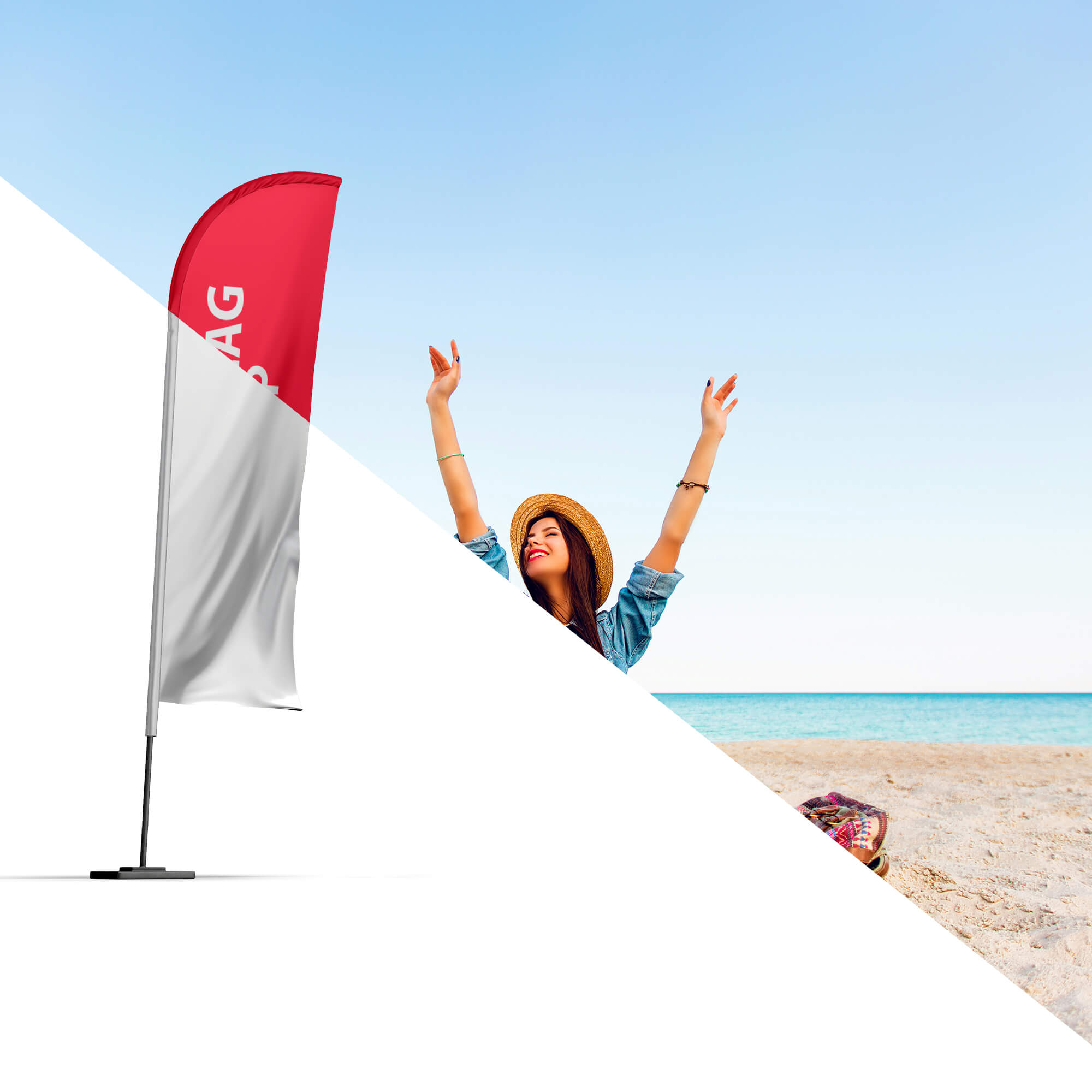 Editable Free Beach Flag Mockup PSD Template