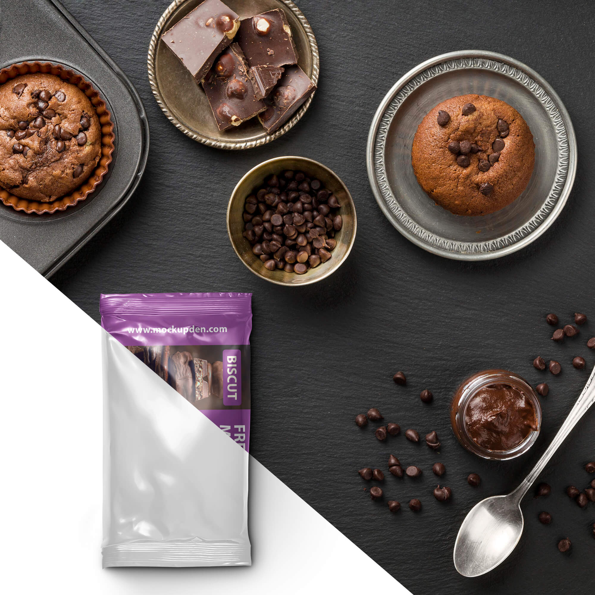 Editable Free Biscuit Mockup PSD Template