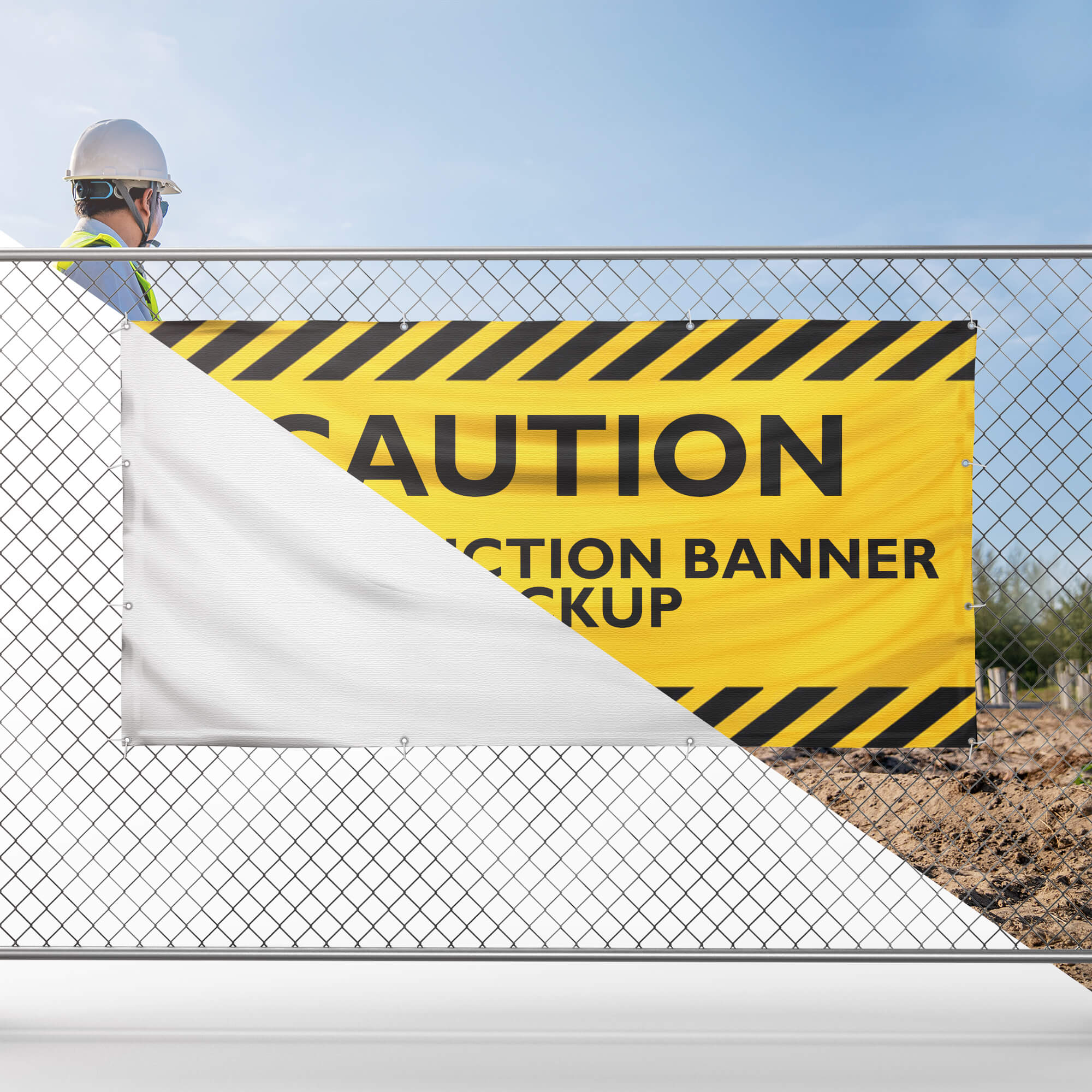 Editable Free Construction Banner Mockup PSD Template