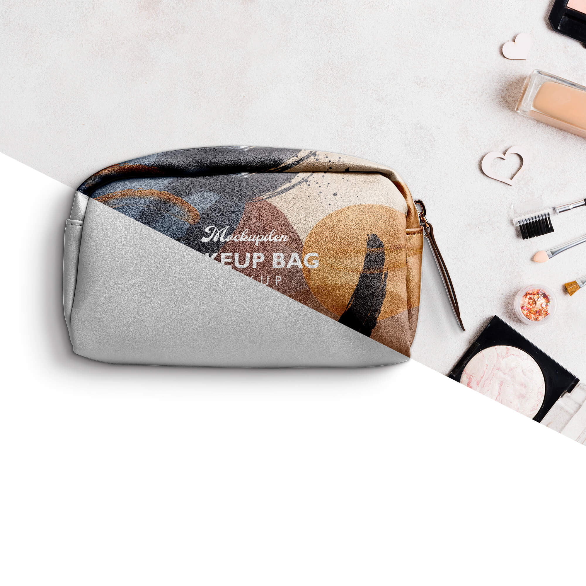 Editable Free Makeup Bag Mockup PSD Template