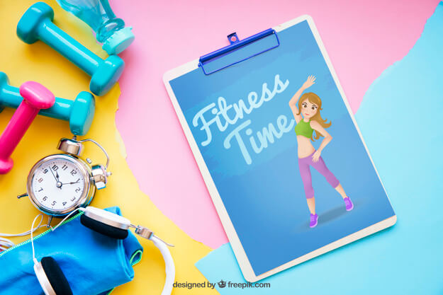 Fitness mockup with clipboard on right Free Psd