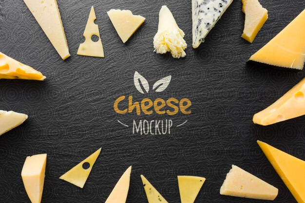 Flat lay of assortment of locally grown cheese Free Psd