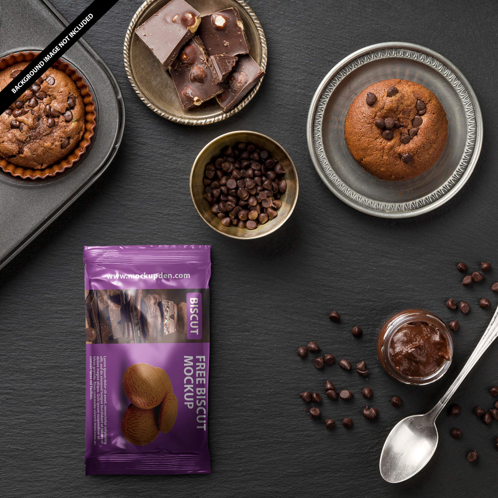 Free Biscuit Packaging Mockup PSD Template