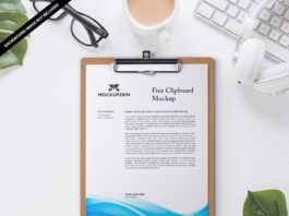 Free Clipboard Mockup PSD Template