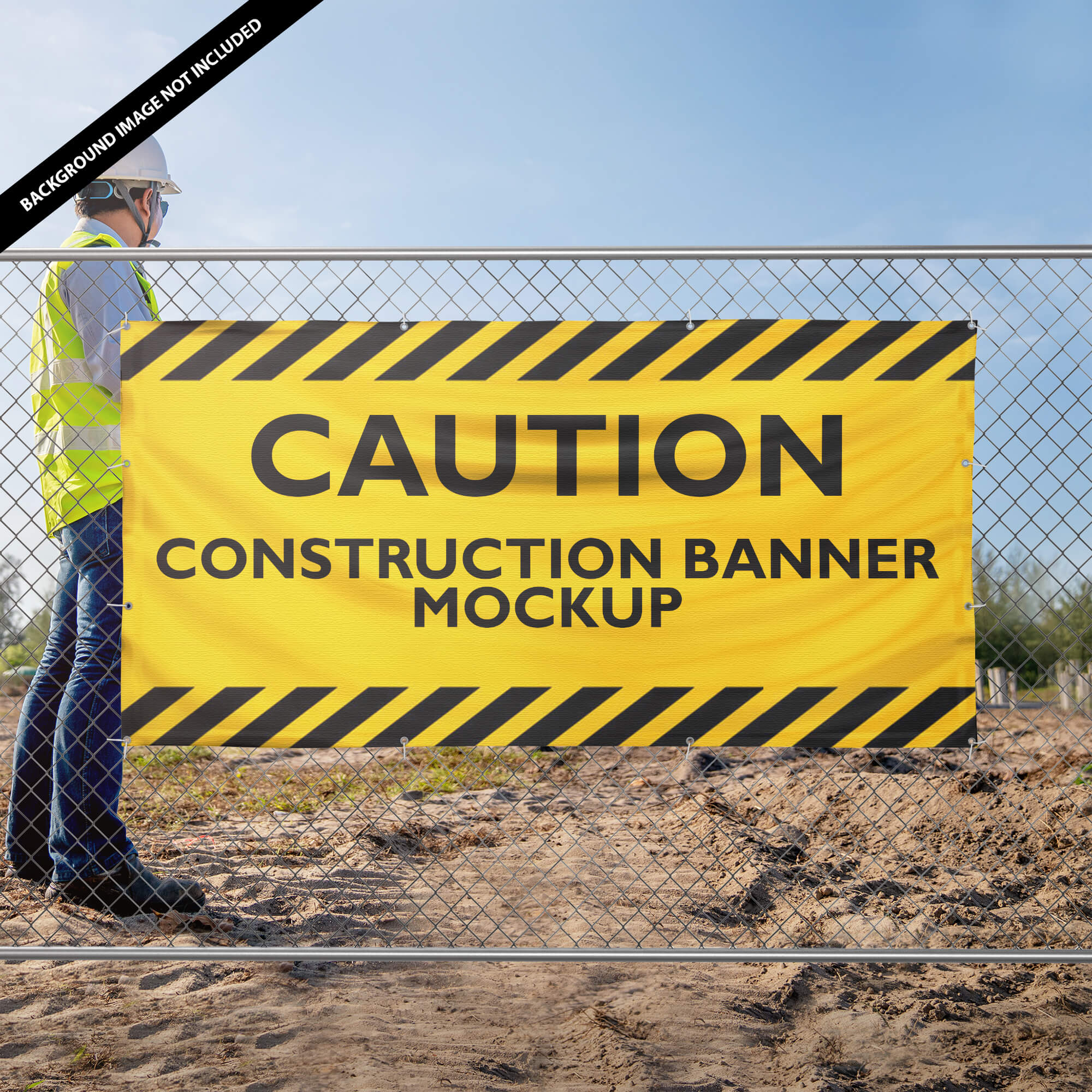 Free Construction Banner Mockup PSD Template