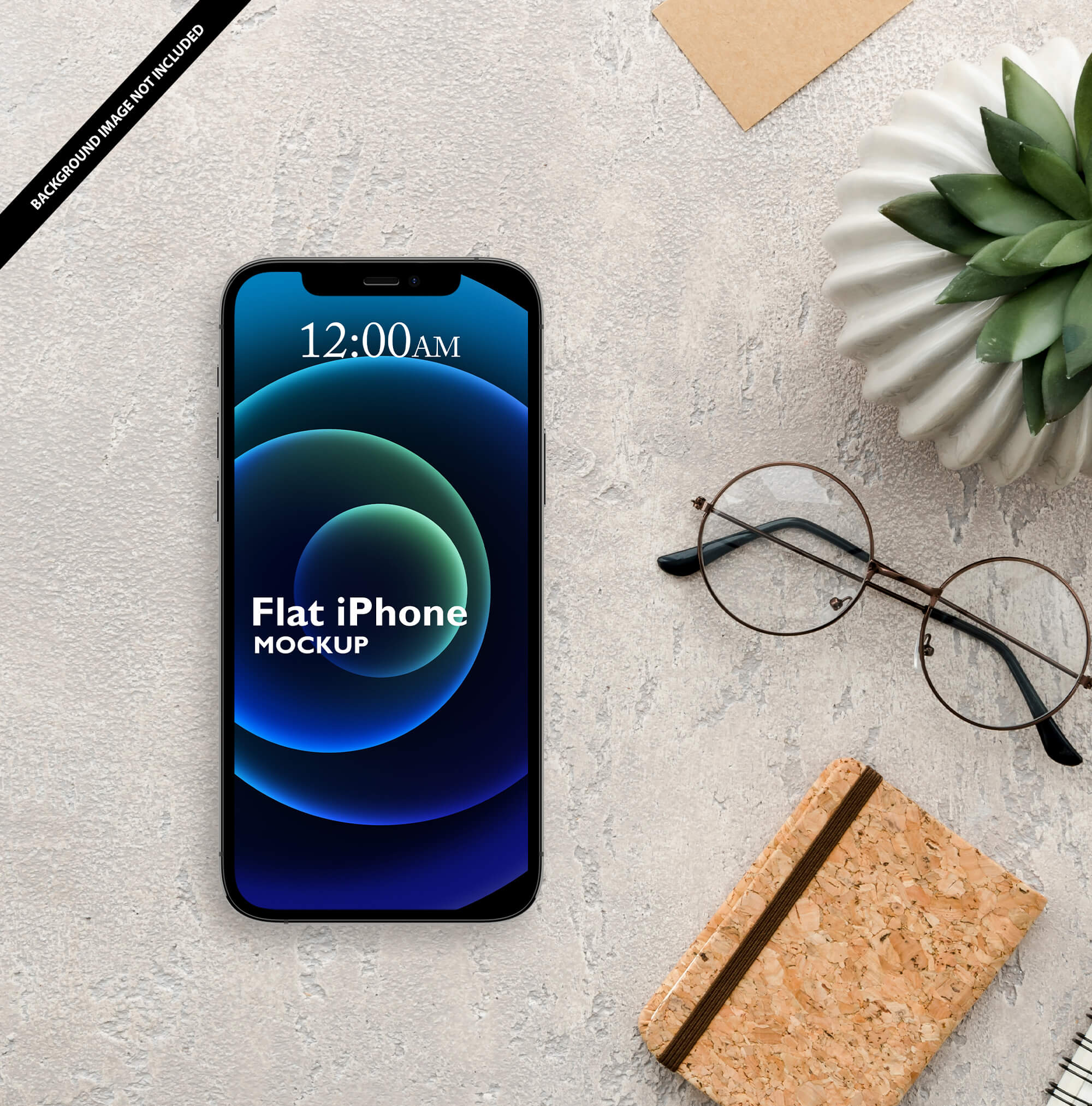 Free Flat iPhone Mockup PSD Template