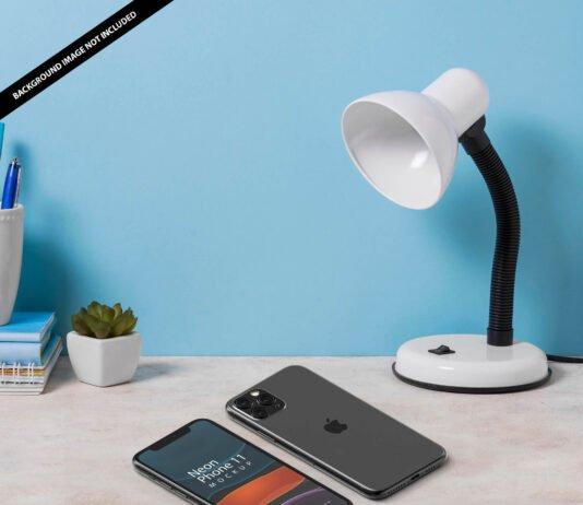 Free Neon Phone 11 Mockup PSD Template