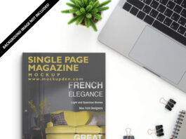 Free Single Page Magazine Mockup PSD Template