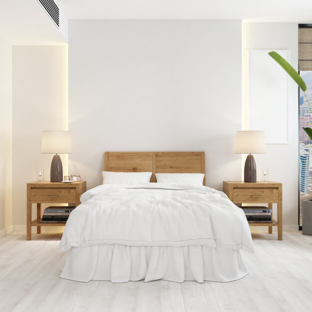 Front view of room with a bed and modern wooden night tables mockup Free Psd (2)