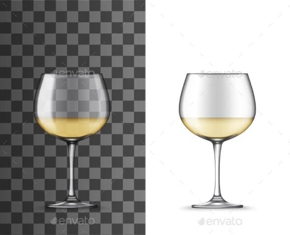 Glass of White Wine Montrachet Realistic Mockup