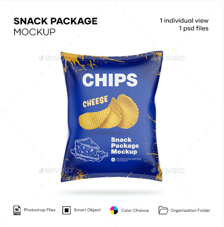 Glossy Snack Package Chips Mockup