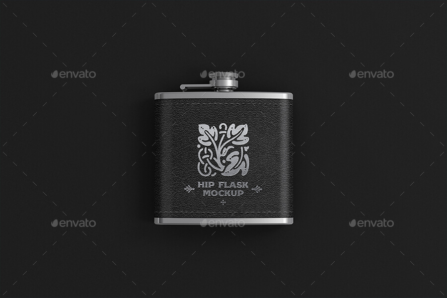 Hip Flask With Leather Cover Mockup