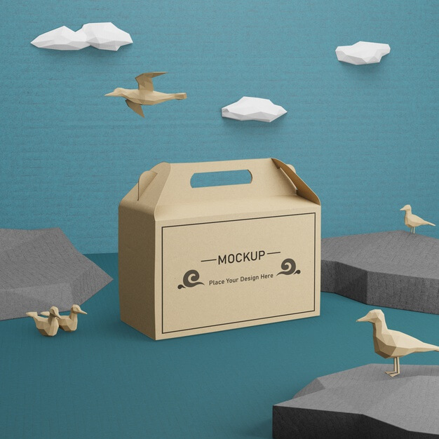 Kraft paper bag for ocean day with mock-up Free Psd