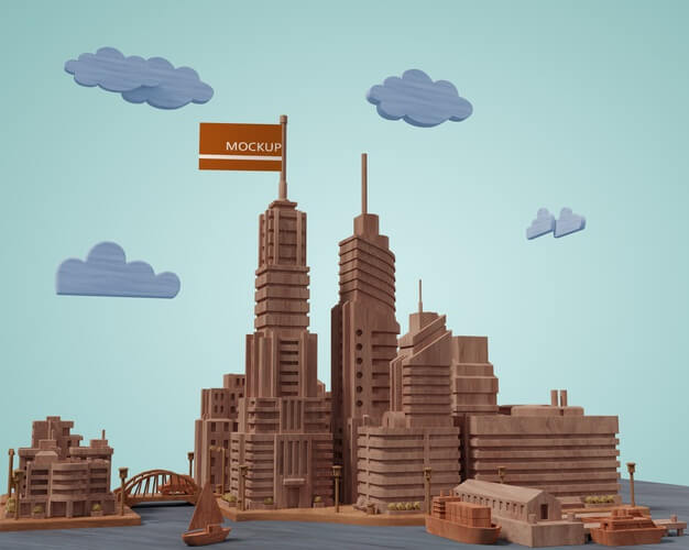 Mock-up cities 3d buildings Free Psd