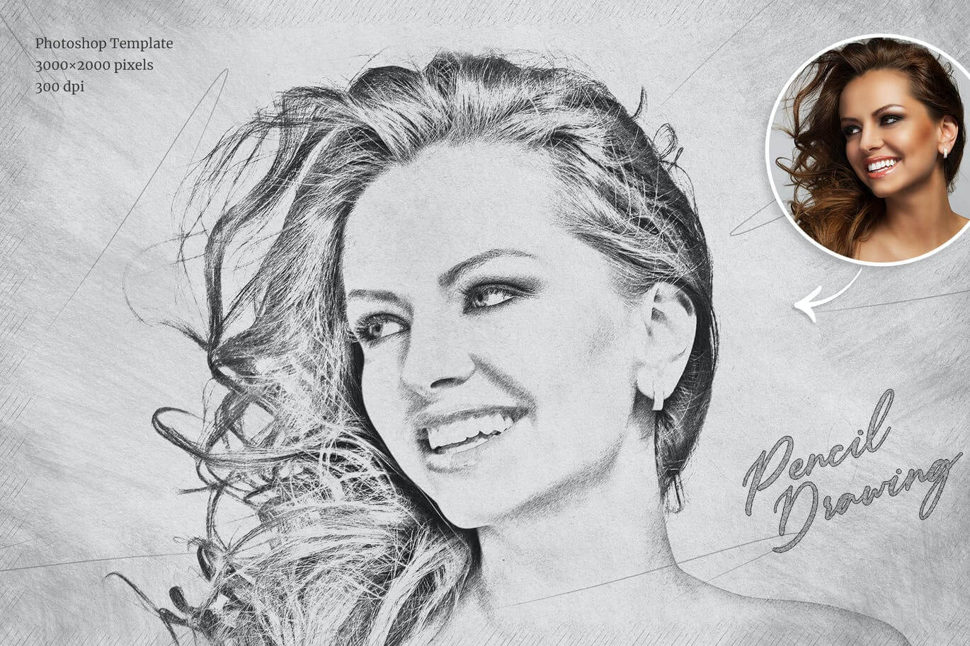 Pencil Drawing Photoshop Template (2)