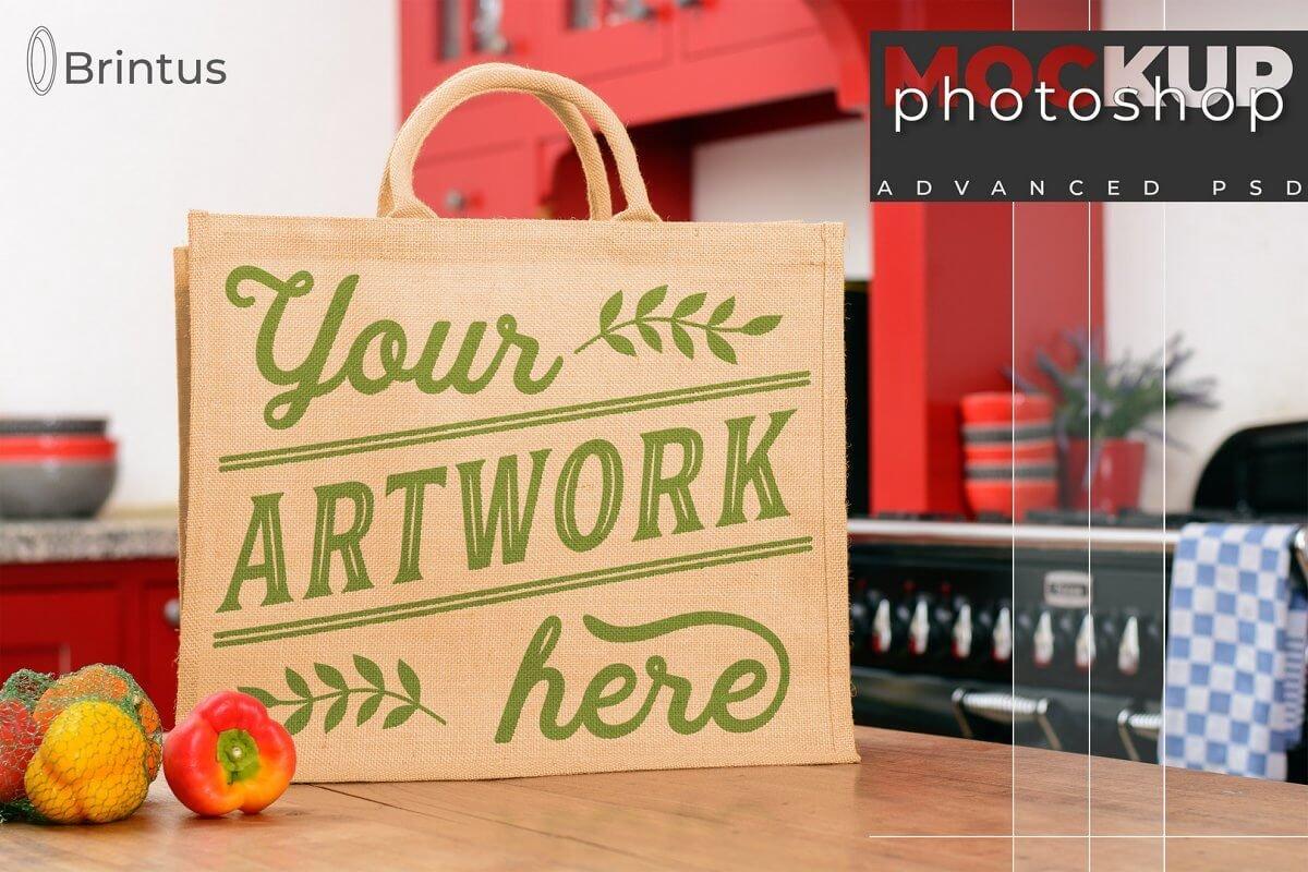 Photoshop mockup Burlap shoppingbag (1)