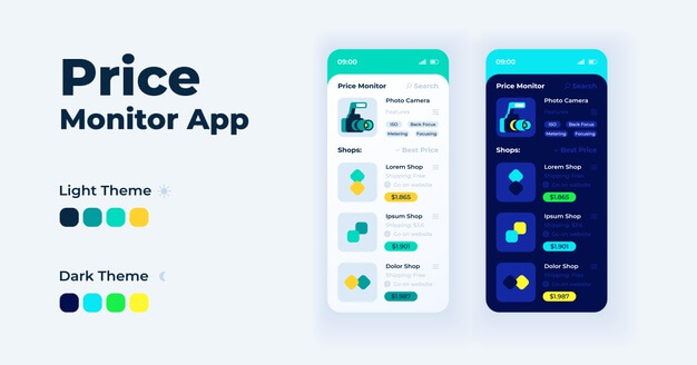 Price monitor app cartoon smartphone interface templates set. mobile app screen page day and night modes . price comparison ui for application. phone display with illustrations Premium Vector