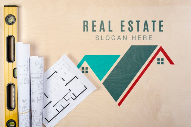 Real estate slogan with building plans Free Psd