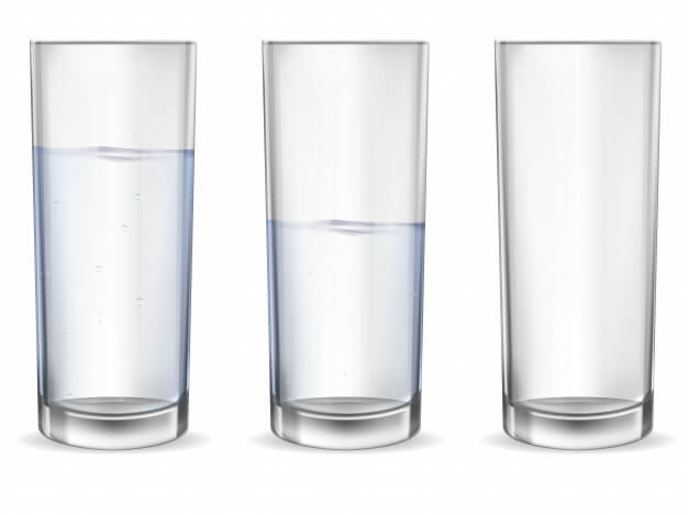 Realistic empty glass with water cup set. Premium Vector