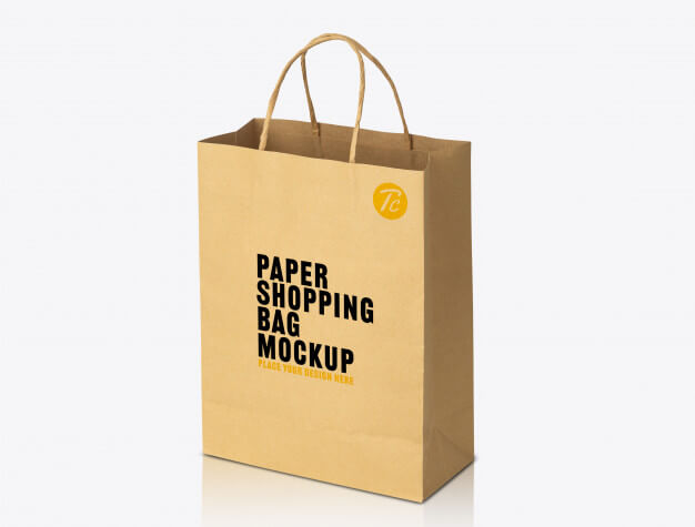 Recycled kraft brown paper bag mockup template for your design Premium Psd