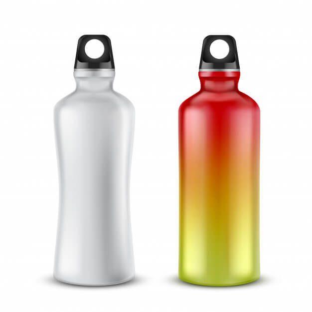 Set of blank plastic bottles with lids for drinks, isolated on background. Free Vector
