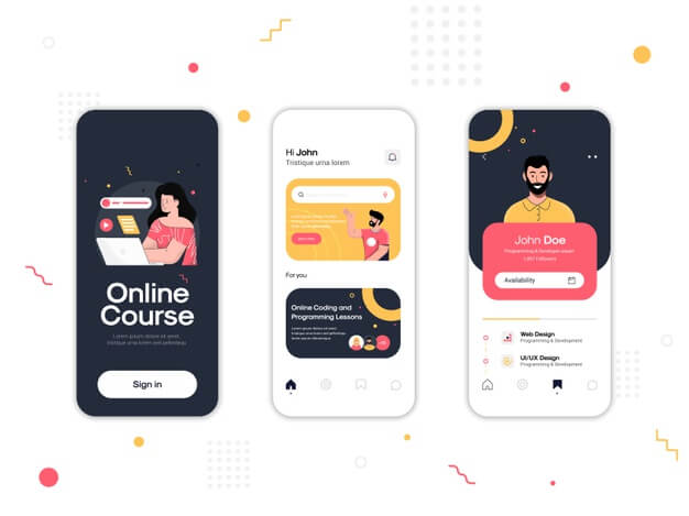 Set of ui, ux, gui screens online course app Premium Vector