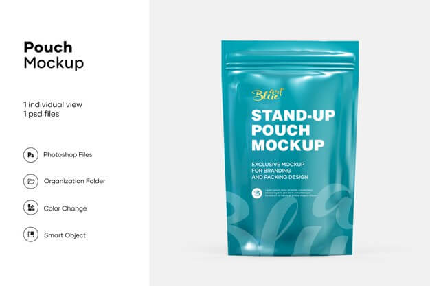 Stand up pouch with zipper mockup isolated Premium Psd (1)