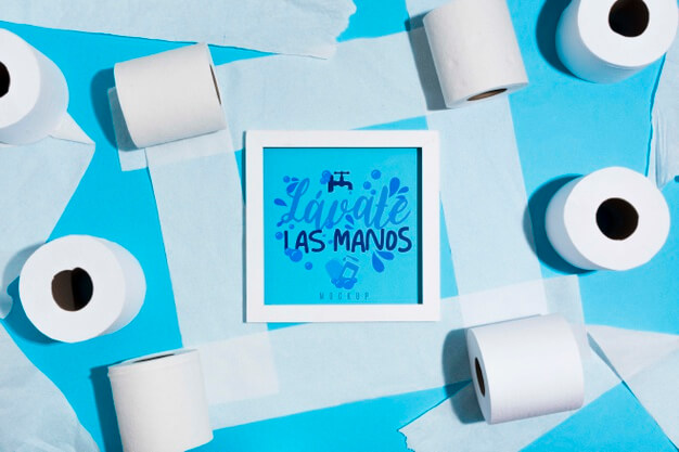Toilet paper rolls with frame Free Psd