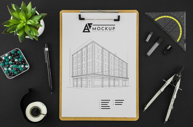 Top view architecture drawing with mock-up Free Psd