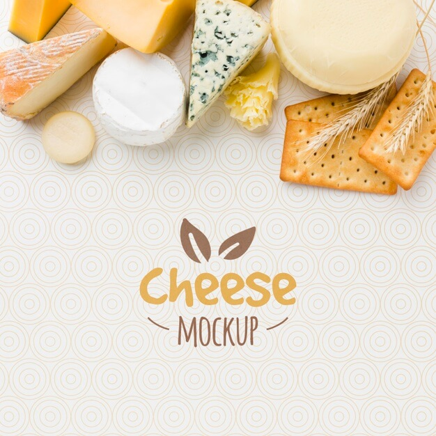 Top view of assortment of locally grown cheese mock-up Free Psd