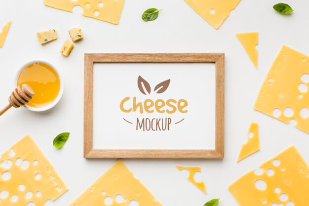 Top view of locally grown cheese with frame mock-up Free Psd