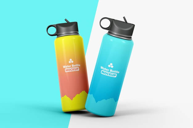 Two flasks for water mockup isolated Premium Psd