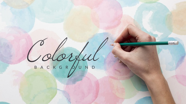 Watercolor drawing with mock-up Free Psd