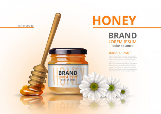 Acacia honey jar with wooden dipper vector realistic mock up flower background Premium Vector