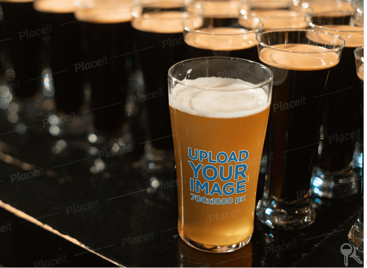 Beer Glass Mockup Featuring Different Kinds of Beer