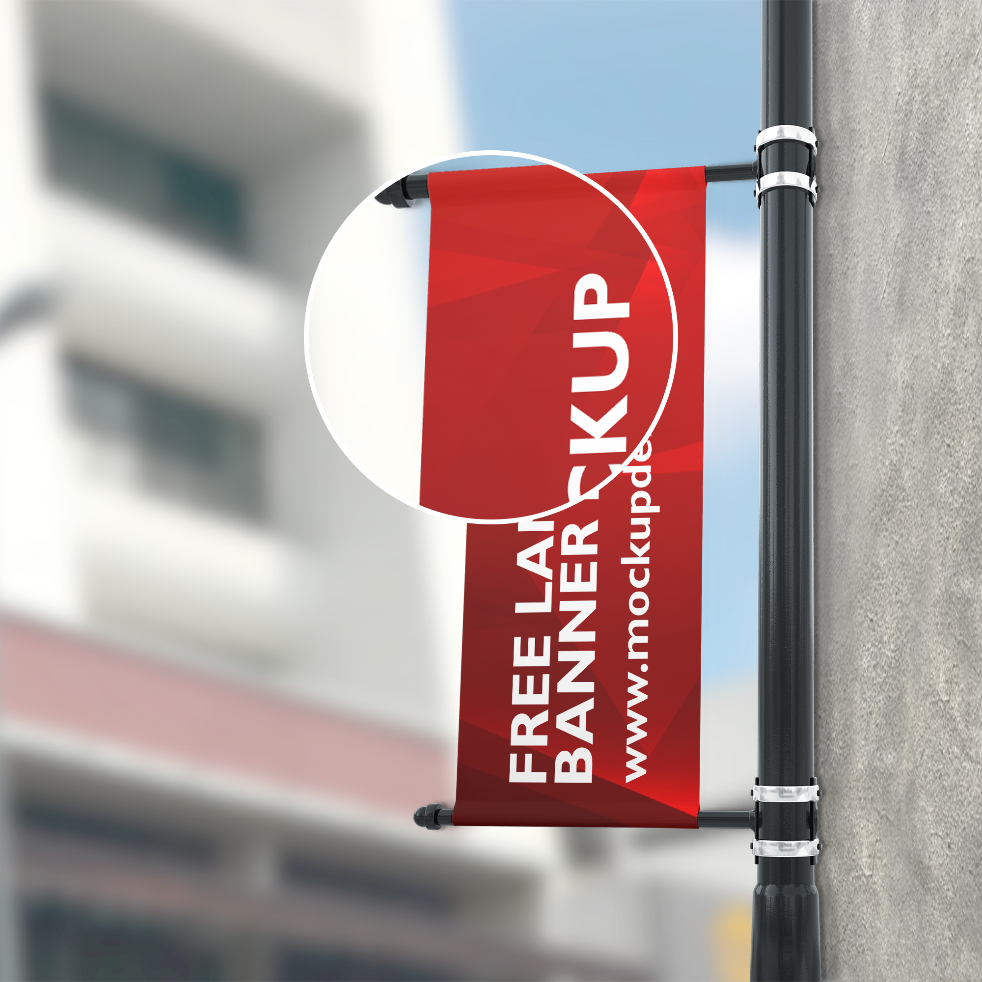 Close up Of a Free Lamp Banner Mockup PSD Template