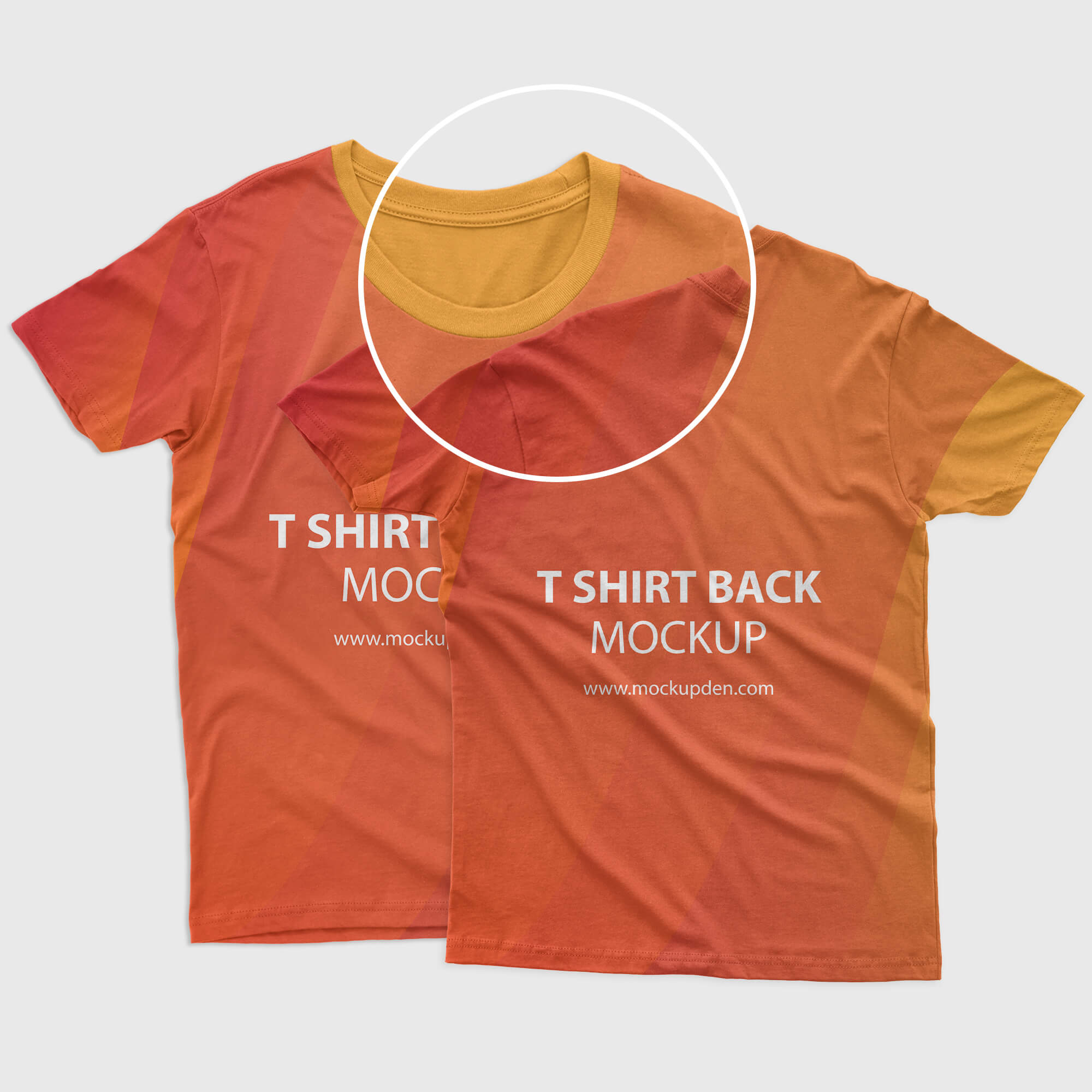 Close UP Of a Free Front Back T shirt Mockup PSD Template