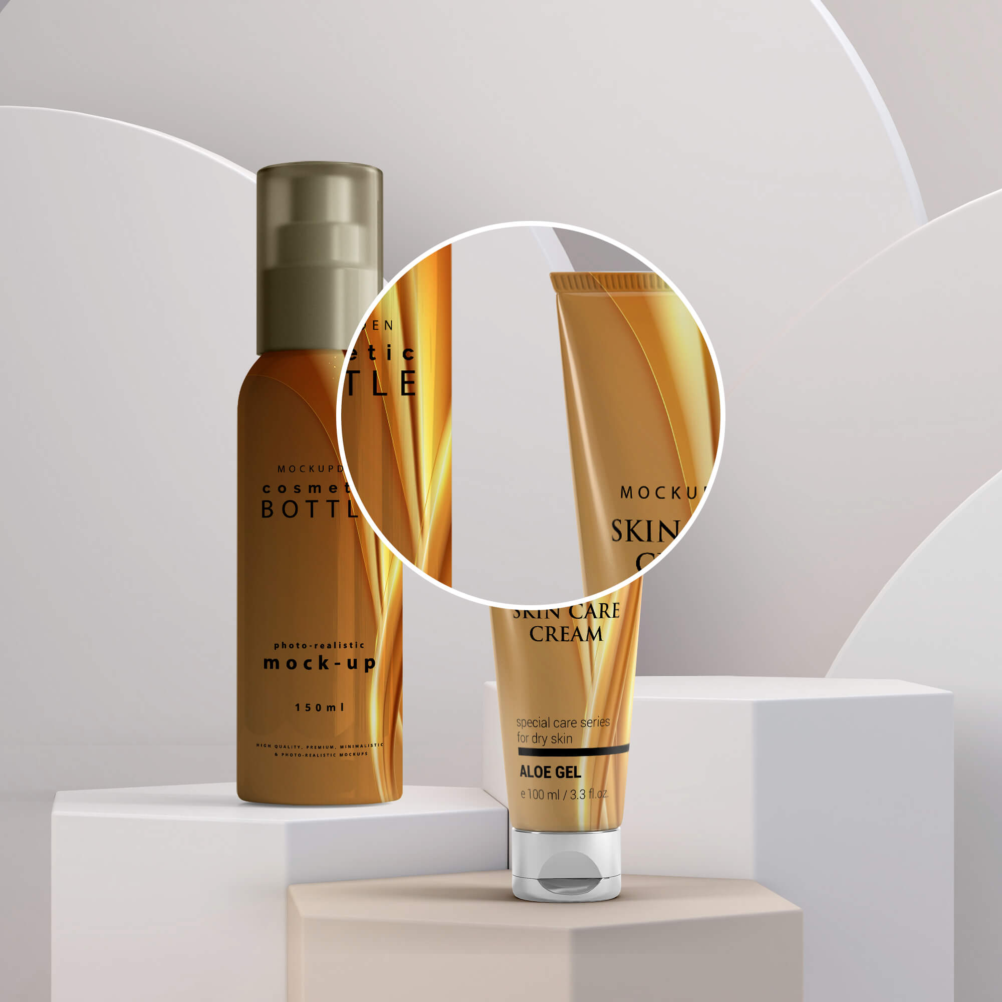 Close Up Of a Cosmetic Tube & Bottle - Mockup