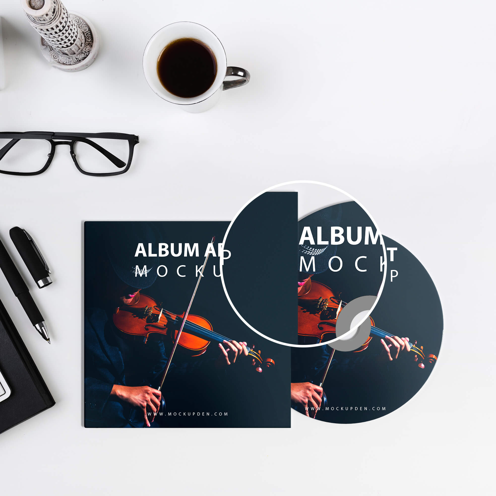 Close Up Of a Free Album Art Mockup PSD Template