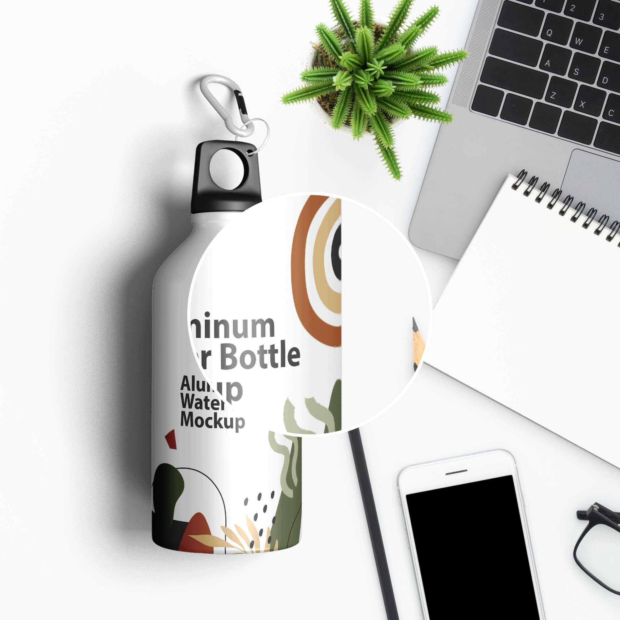 Close Up Of a Free Aluminum Water Bottle Mockup PSD Template