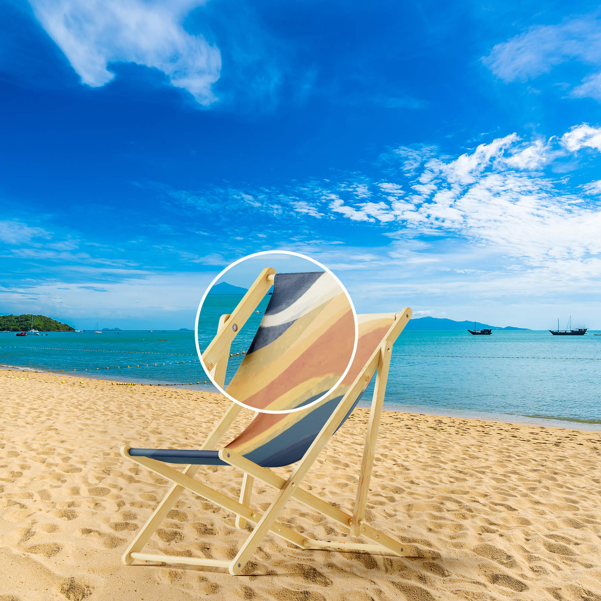 Close Up Of a Free Beach Chair Mockups PSD Template