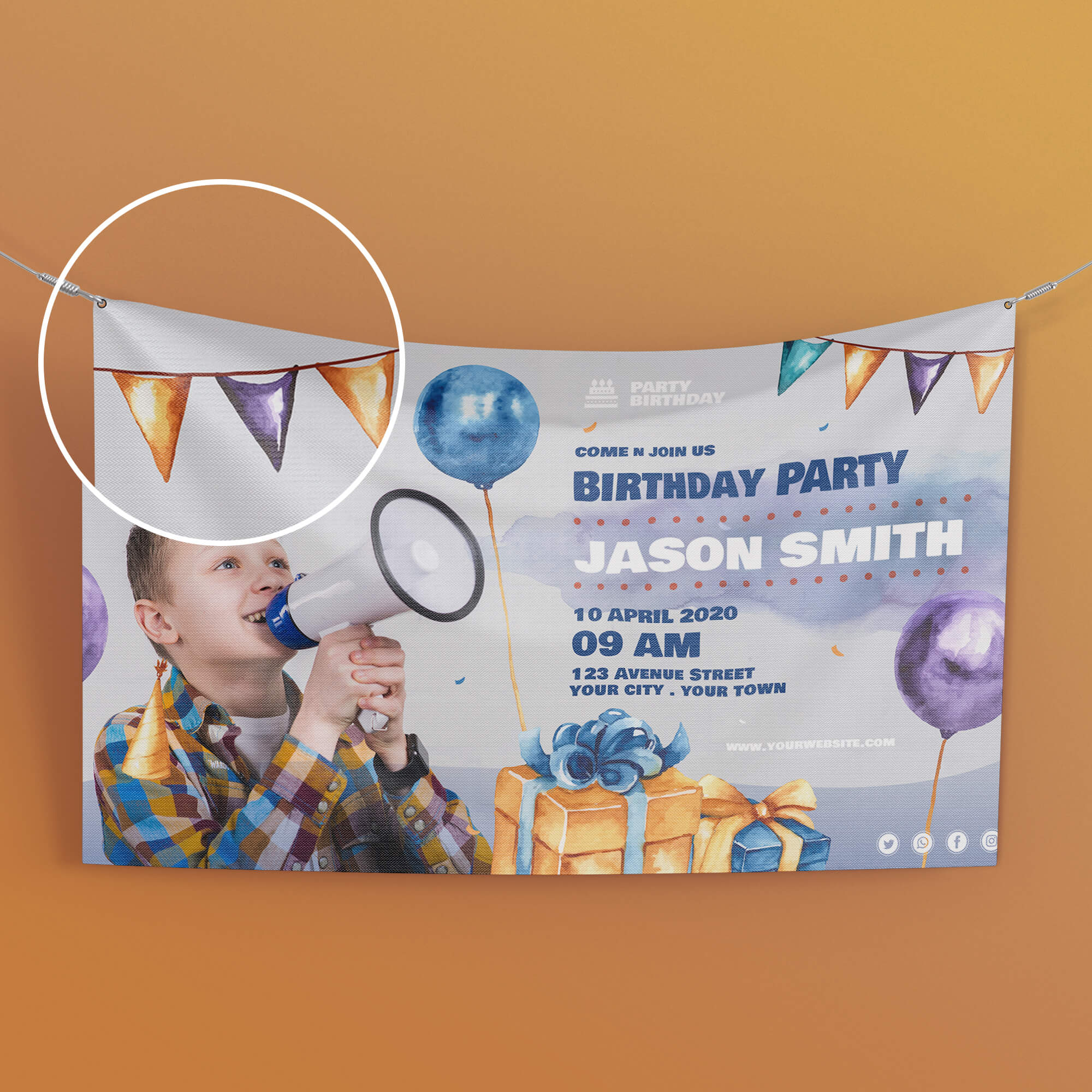 Close Up Of a Free Birthday Banner Mockup PSD Template