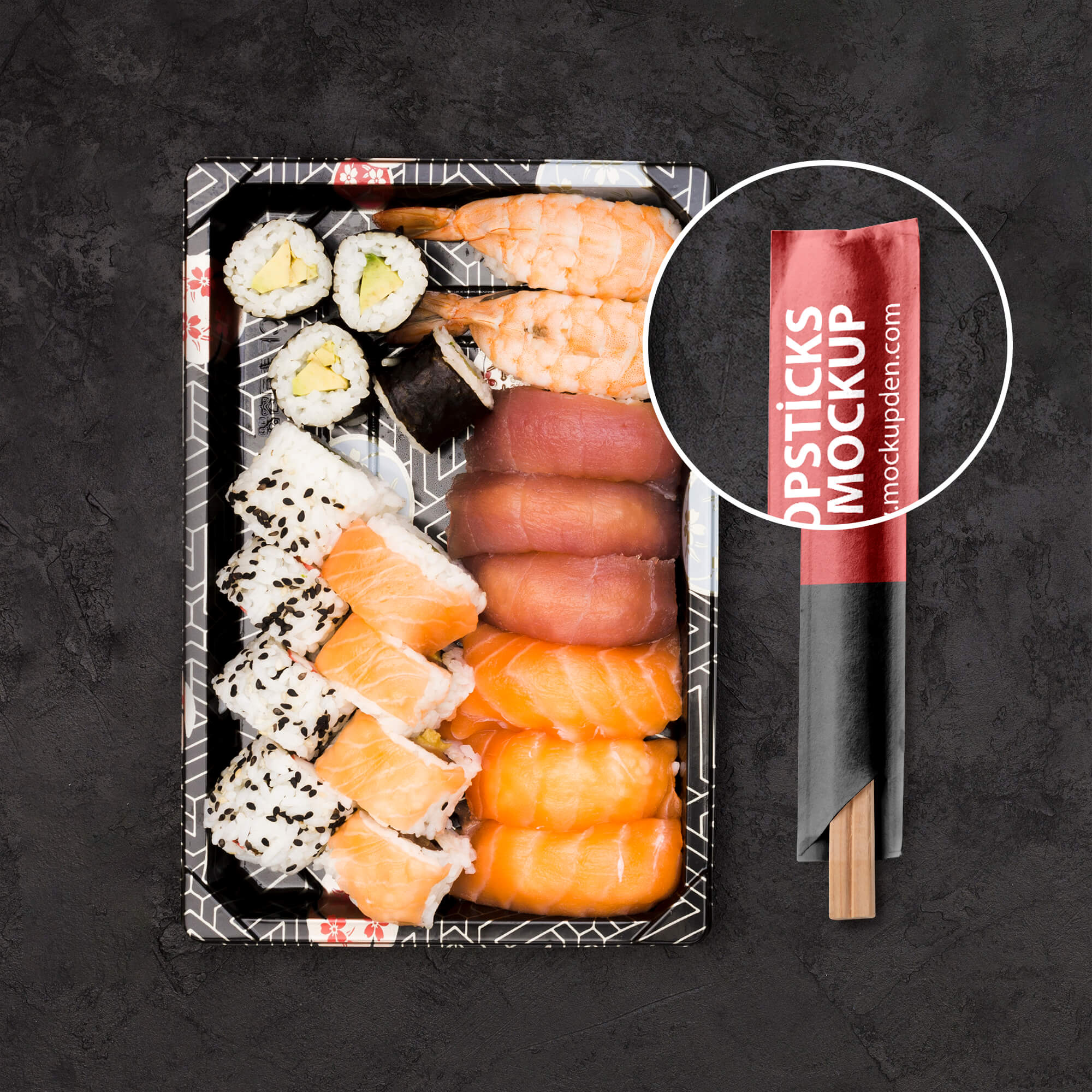 Close Up Of a Free Chopsticks Mockup PSD Template