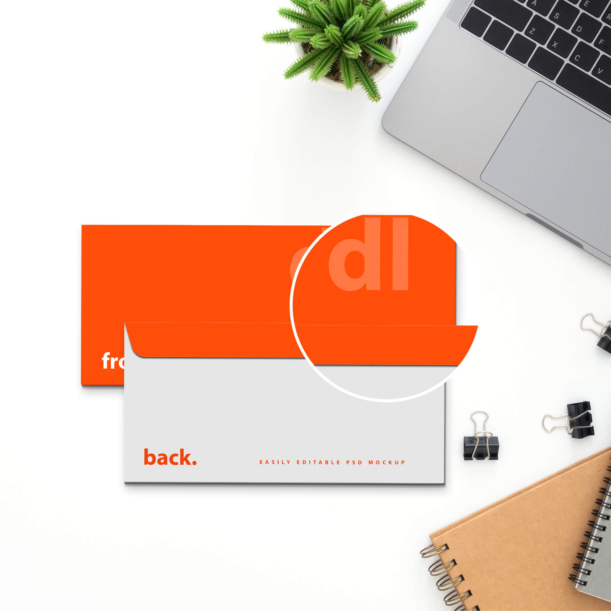 Close Up Of a Free Dl Envelope Mockup PSD Template