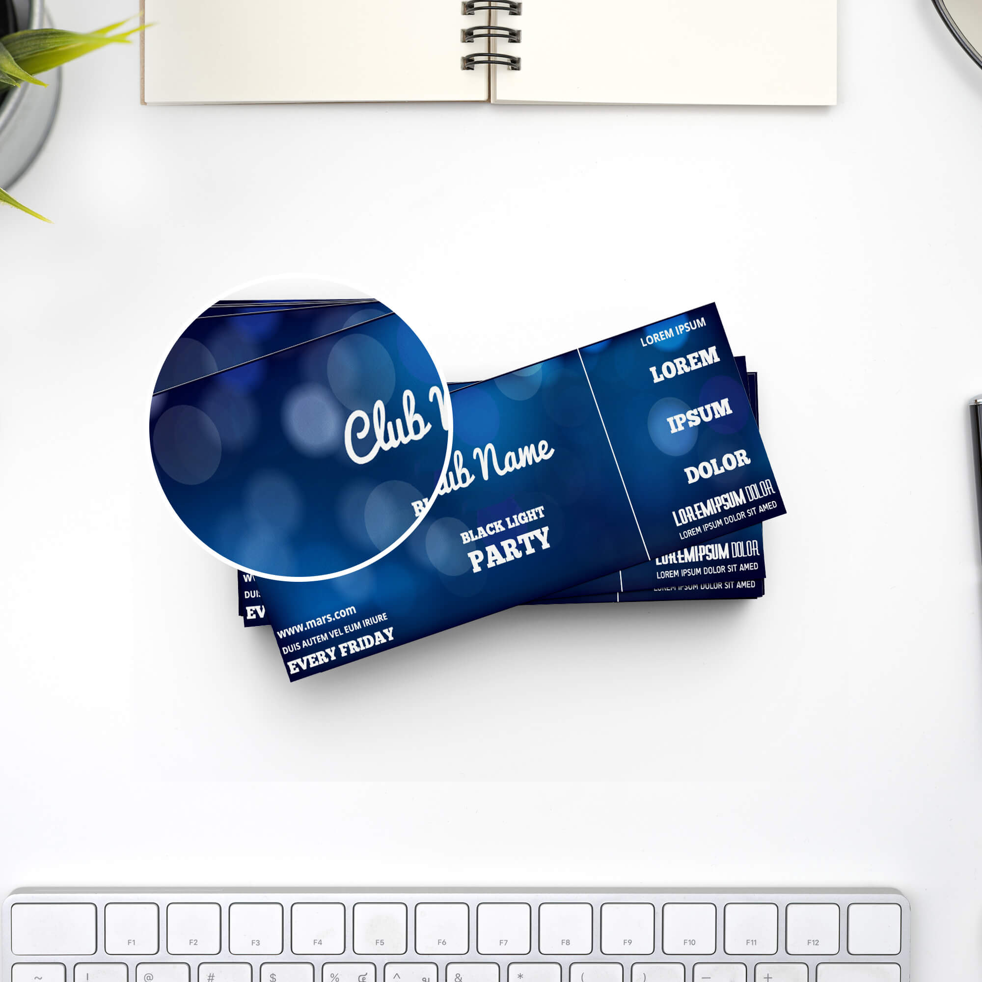 Close Up Of a Free Event Ticket Mockup PSD Template